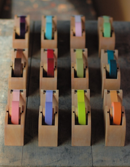 Washi tape and wooden washi tape dispensers