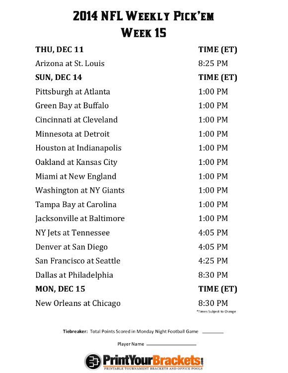 picture relating to Nfl Week 14 Printable Schedule titled Printable NFL 7 days 15 Routine Pick out em Office environment Pool 2014
