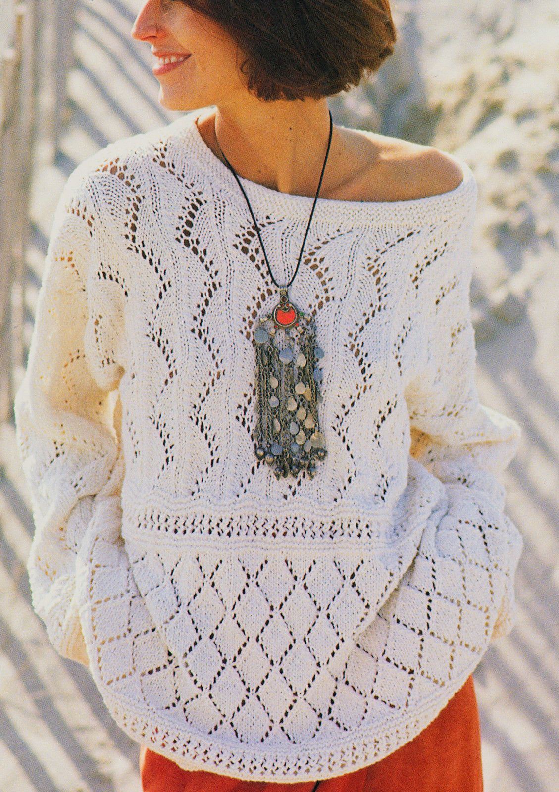 Lace Sampler Summer Sweater Knitting Pattern S-M-L in DK Cotton/Silk ...