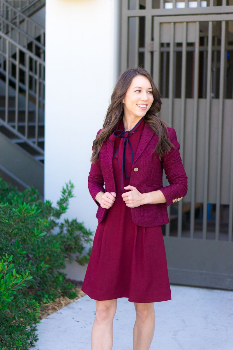 ed15c73bf How to style a bow dress | J. Crew tie-neck Italian wool crepe dress review  | Petite fashion and style blog | Burgundy dress | Navy dress | Salvatore  ...