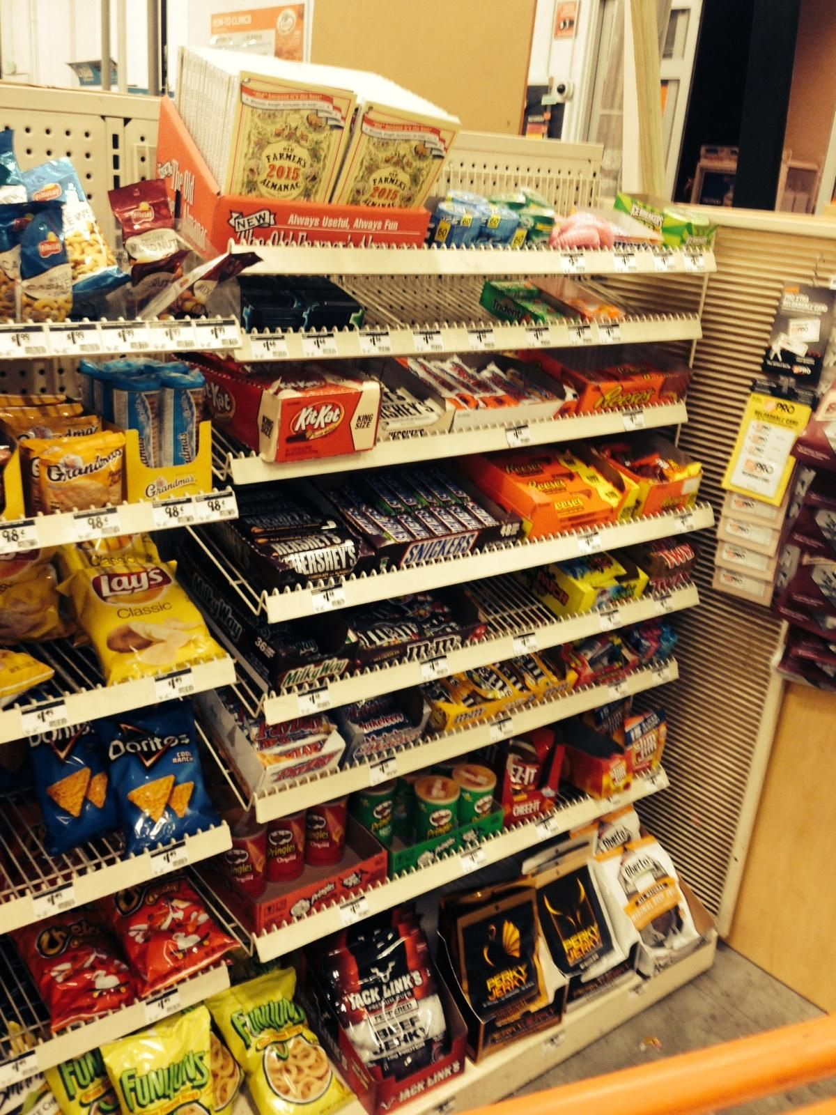 Unfortunately this Home Depot pushes candy at checkout No one