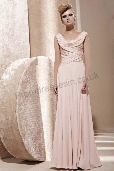 pink bateau neck sleeveless low back bridesmaid dress 2013