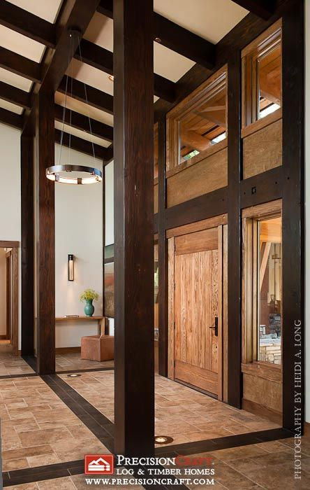 Timber Framed Entrance to this Modern Timber Frame Home