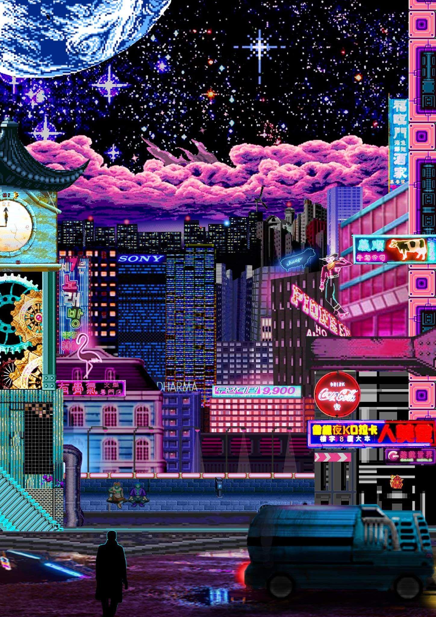 The 2nd In A Series Of Cityscapes I M Making サイバーパンクダウンタウン saibapanku Vaporwave Wallpaper Cyberpunk Aesthetic Pixel Art