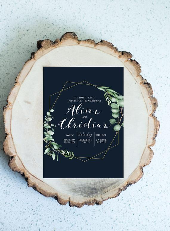 Navy Eucalyptus Gold Wreath Wedding Invitation, Online Wedding