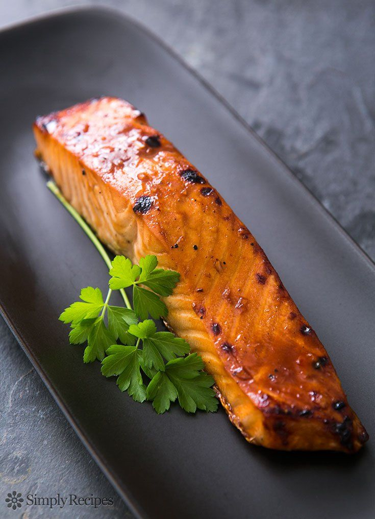 Hoisin GLazed Baked Salmon by simplyrecipes: So EASY! Salmon fillets marinated in a hoisin-based lime and soy sauce marinade and then quickly broiled. Perfect midweek dinner. #Salmon #Hoisin #Lime #Healthy #Easy