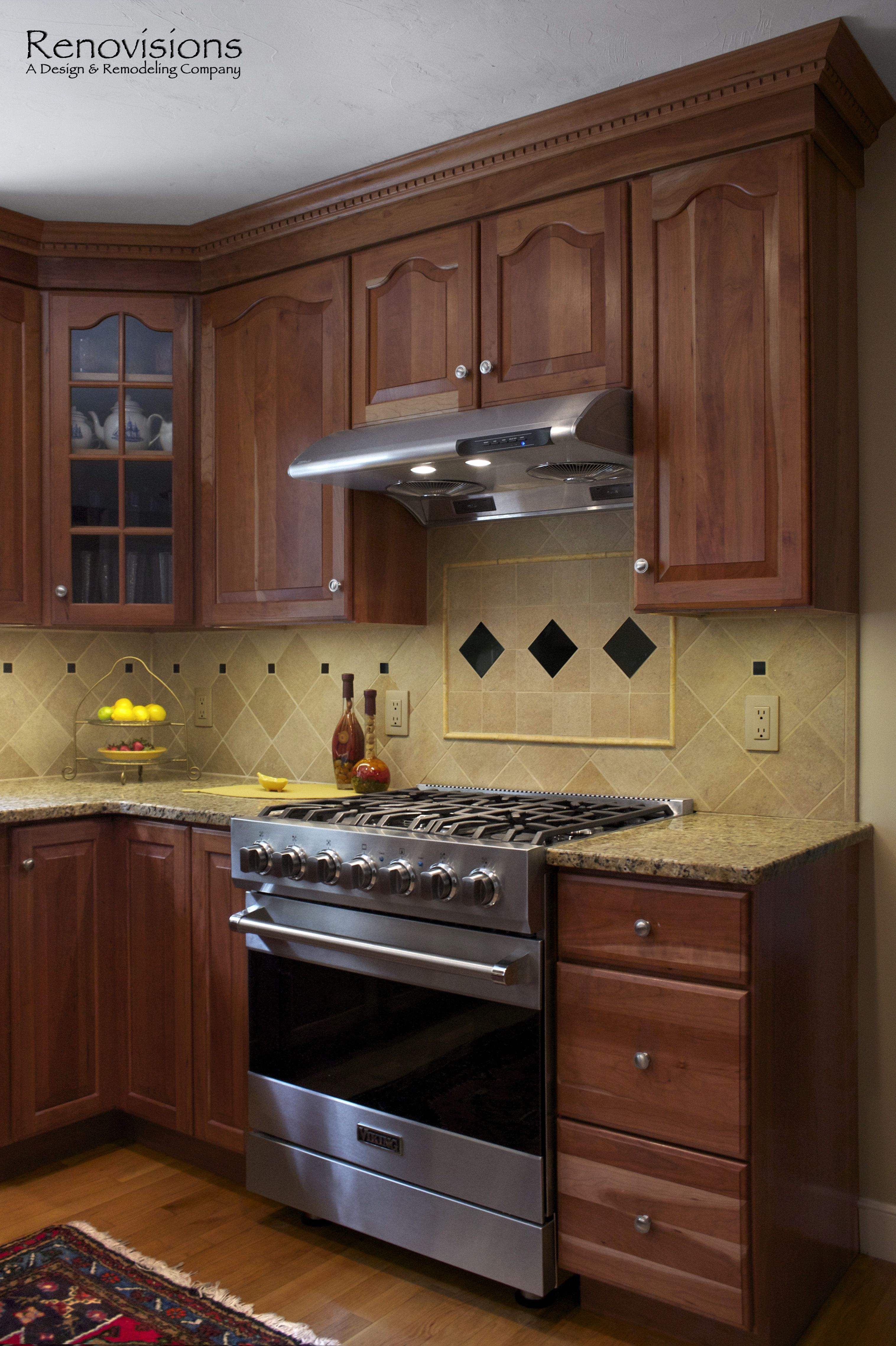 backsplash pictures for granite countertops. Decorative Tan And Black Tile Backsplash. Granite Countertops Natural Cherry Cabinets With Under Cabinet Lights. Stainless Steel Appliances. Backsplash Pictures For