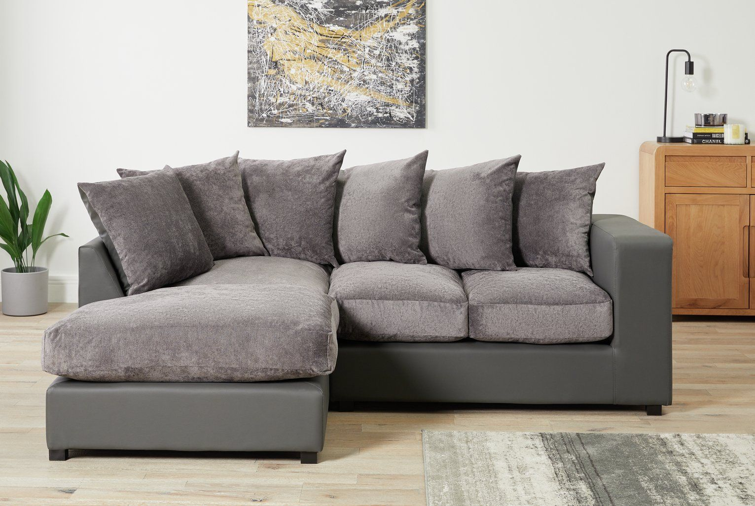 Buy Argos Home Hartley Left Corner Fabric Sofa Charcoal Sofas Argos In 2020 Argos Home Fabric Sofa Corner Sofa