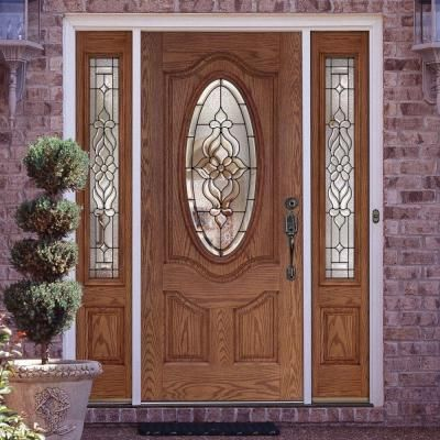 Feather River Doors 63 5 In X 81 625 In Lakewood Patina 3 4 Oval Lite Stained Medium Oak Fi Exterior Doors With Glass Front Door Design Beautiful Front Doors