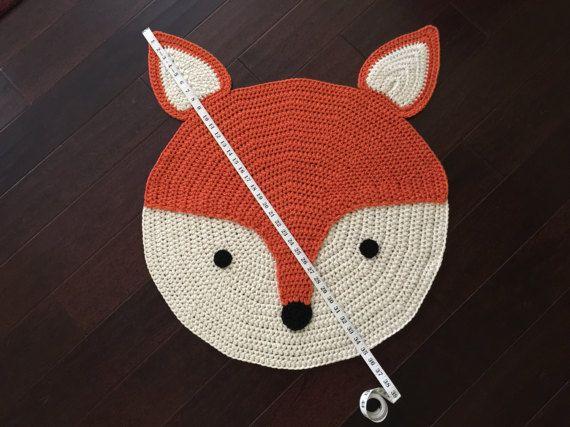 Crochet Fox Rug, hand made rug, Crochet rug, Area rug, children rug ...