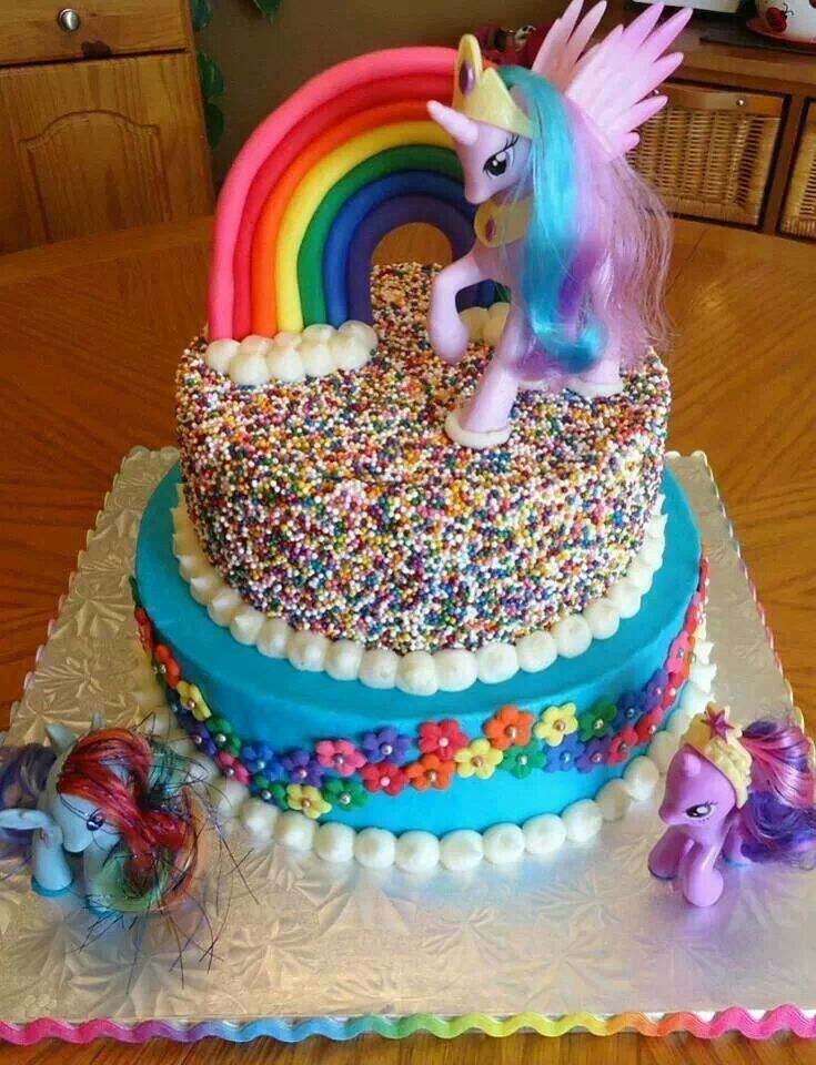 My Little Pony Rainbow Cake Birthday Cakes Grande You Could Totally Do The Top And Get A Mlpjust In Case