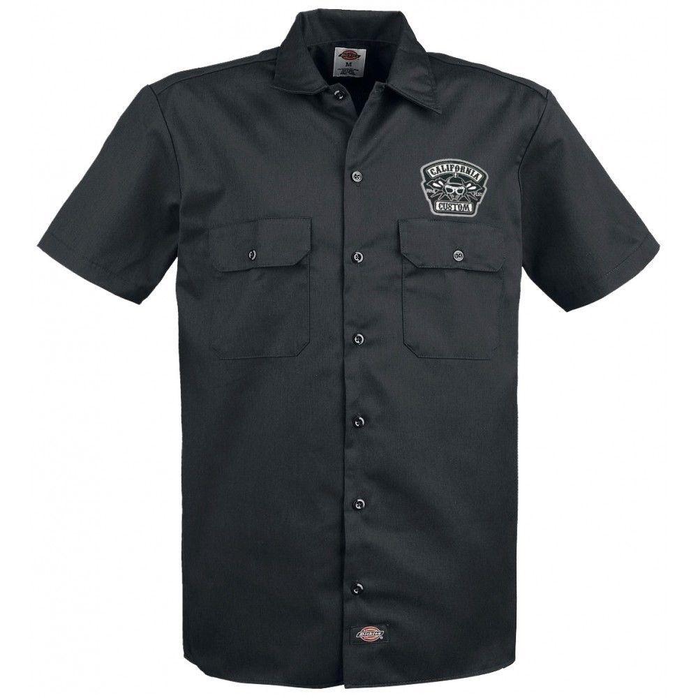 Black flys dickies phantom work shirt mens short sleeve