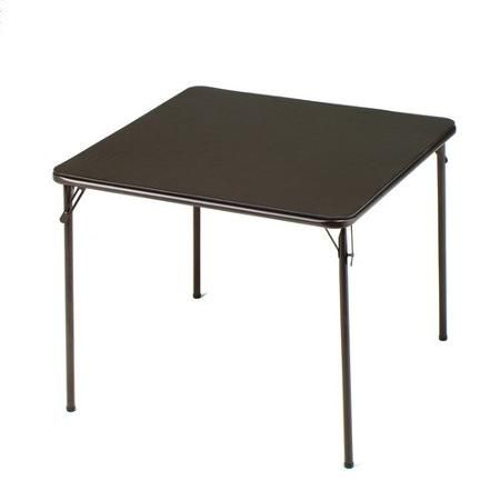 Deep Brown Vinyl And Steel 34 X 34 Square Folding Table 1pk