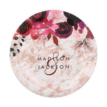 Burgundy Floral Rose Gold Marble Wedding Monogram Paper Plate - diy cyo customize create your own  sc 1 st  Pinterest & Burgundy Floral Rose Gold Marble Wedding Monogram Paper Plate - diy ...