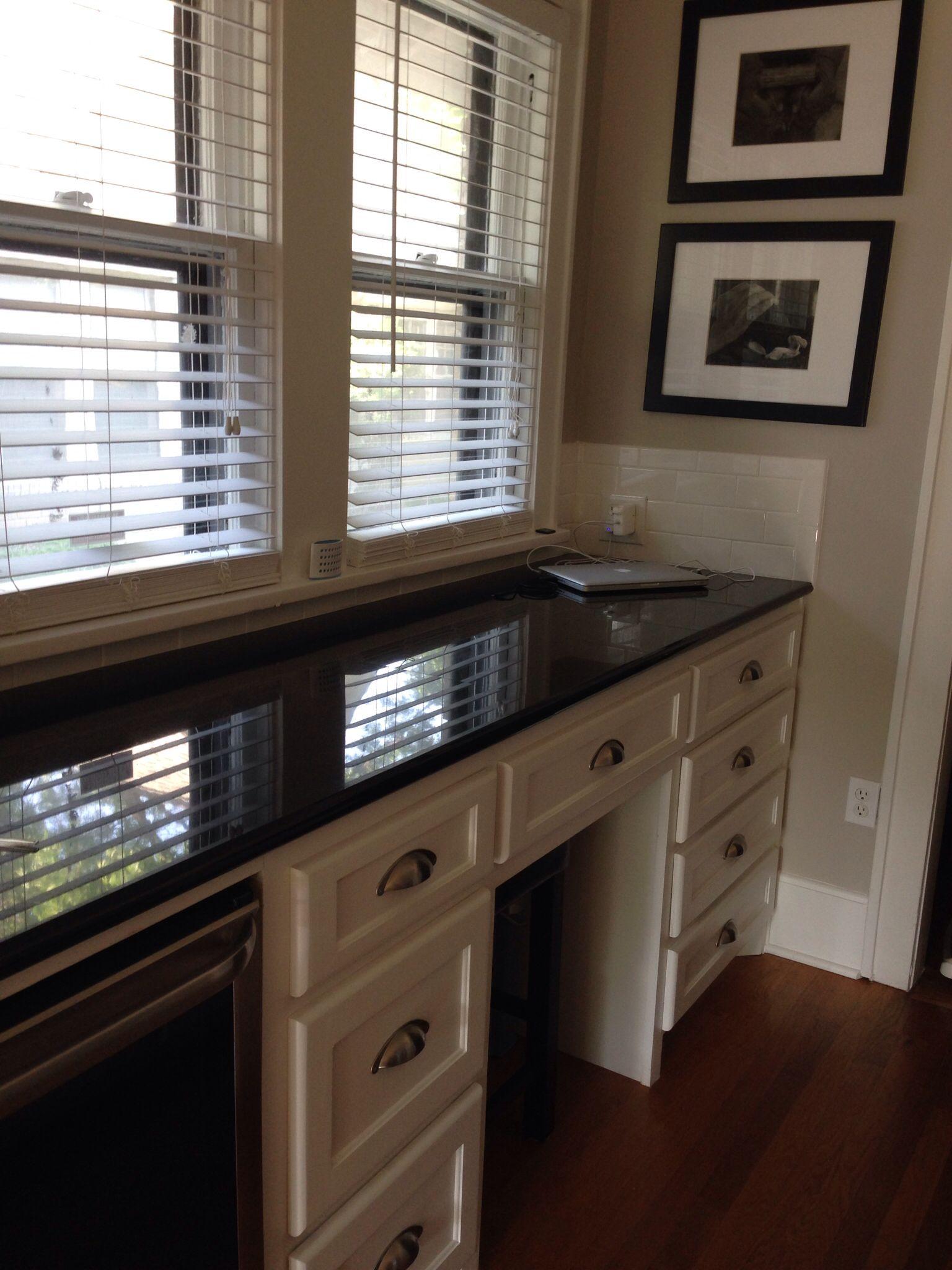 Black Granite Yep My Kitchen Is Black White Love It Built In Desk Built In Desk Office Remodel Home