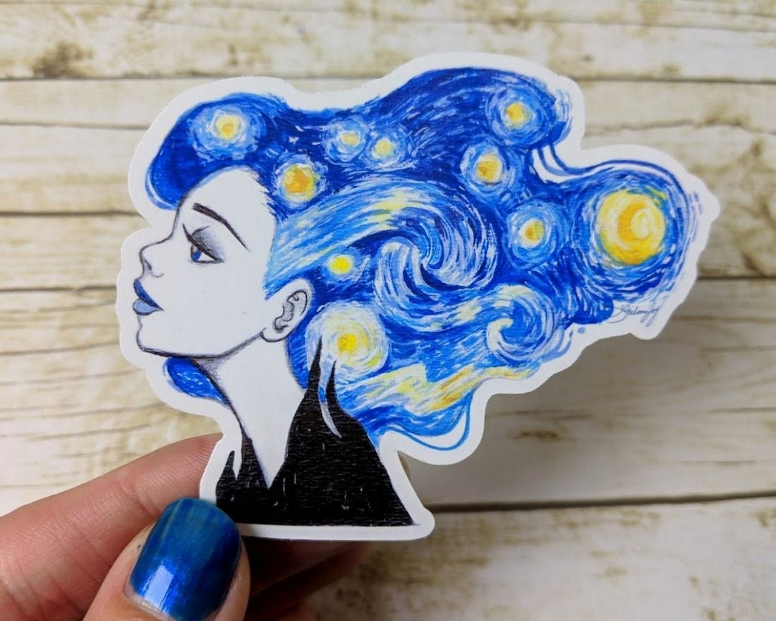 Starry Night Vinyl Sticker  Leilani Joy on Etsy  See our #Etsy or #Starry Night tags - #Art #etsy #gogh #handmade #illustration #night #starry #stationery #stickers #van #watercolor