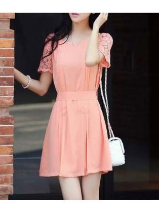 A Line Sweet Unicolor Short Sleeve Pink Dress
