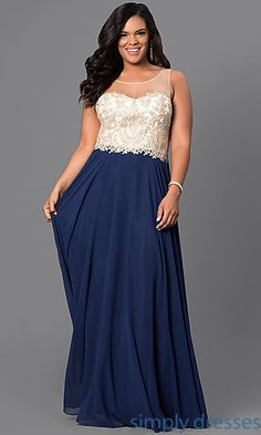 802108daceb Plus-Size Long Formal Prom Dress with Beaded Bodice