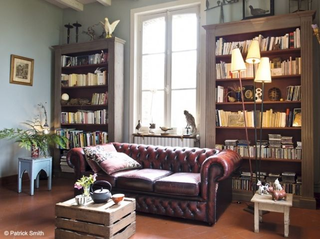 Bibliotheque canape chesterfield salon inspiration - Decoration bibliotheque murale salon ...