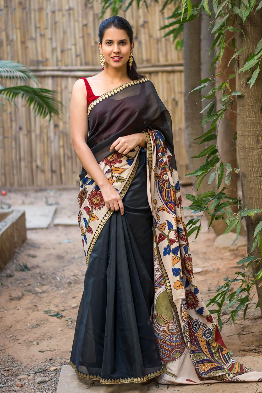 829a7e5bbfeaa3 Black chettinadu chanderi soft silk cotton saree with printed Kalamkari  cross pallu #saree #blouse #houseofblouse #indian #bollywood #style #ethnic  #black ...