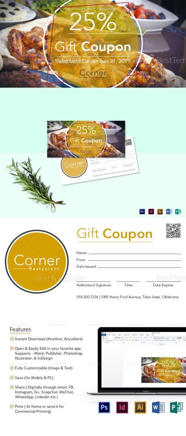 Restaurant Gift Coupon Template $12 - Formats Included : Illustrator ...
