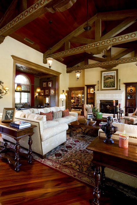 An elegant hacienda style great room in a northern - Spanish decorating ideas living rooms ...
