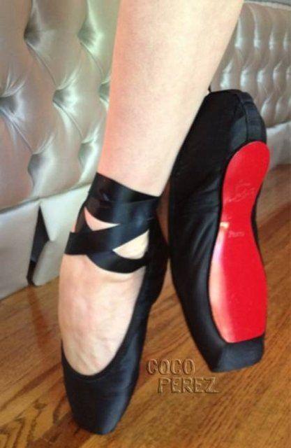 b92b08bff656 Dita Von Teese Christian Louboutin Red Sole Ballet Slippers