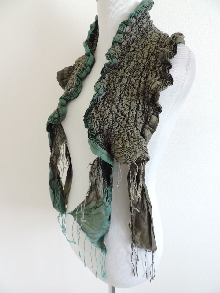 Scarf Unique Tan Green Scrunch #Unlabeled #Scarf