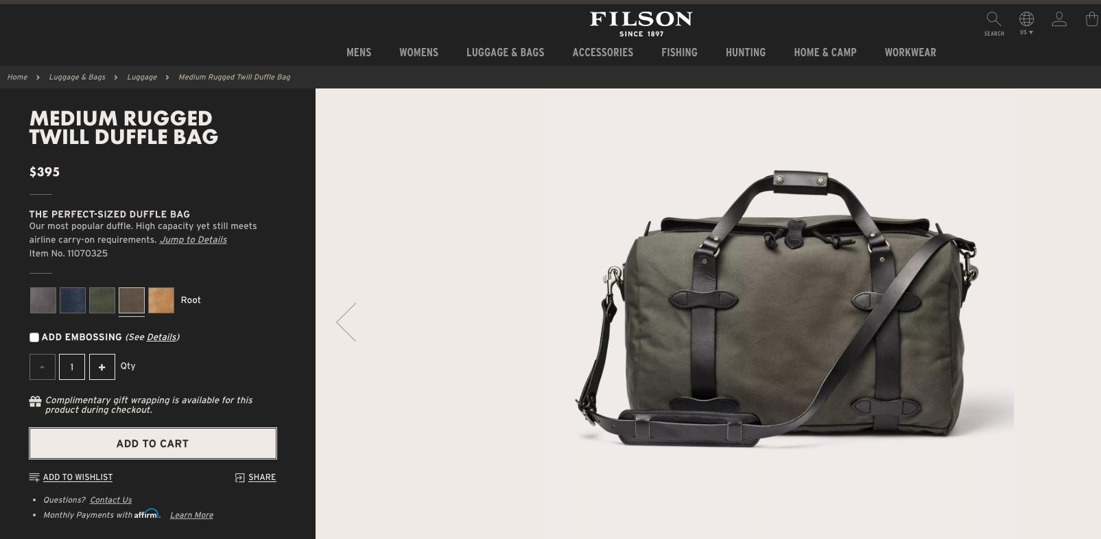 Medium Rugged Twill Duffle Bag Duffle Bags Duffle Bag