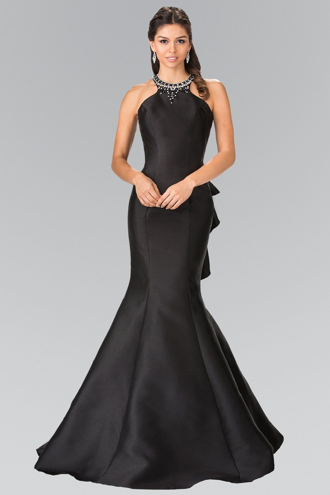 f4b0632cb45 Simply gorgeous mermaid prom gown with open back. A trendy yet sexy dress  with fitted satin skirt. A fab high neck prom dress and formal gown perfect  for a ...