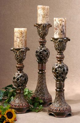 Barocco Empire Candle Holders Set Of 3 Tuscan Candles Tuscan Decorating Tuscan Candle Holders