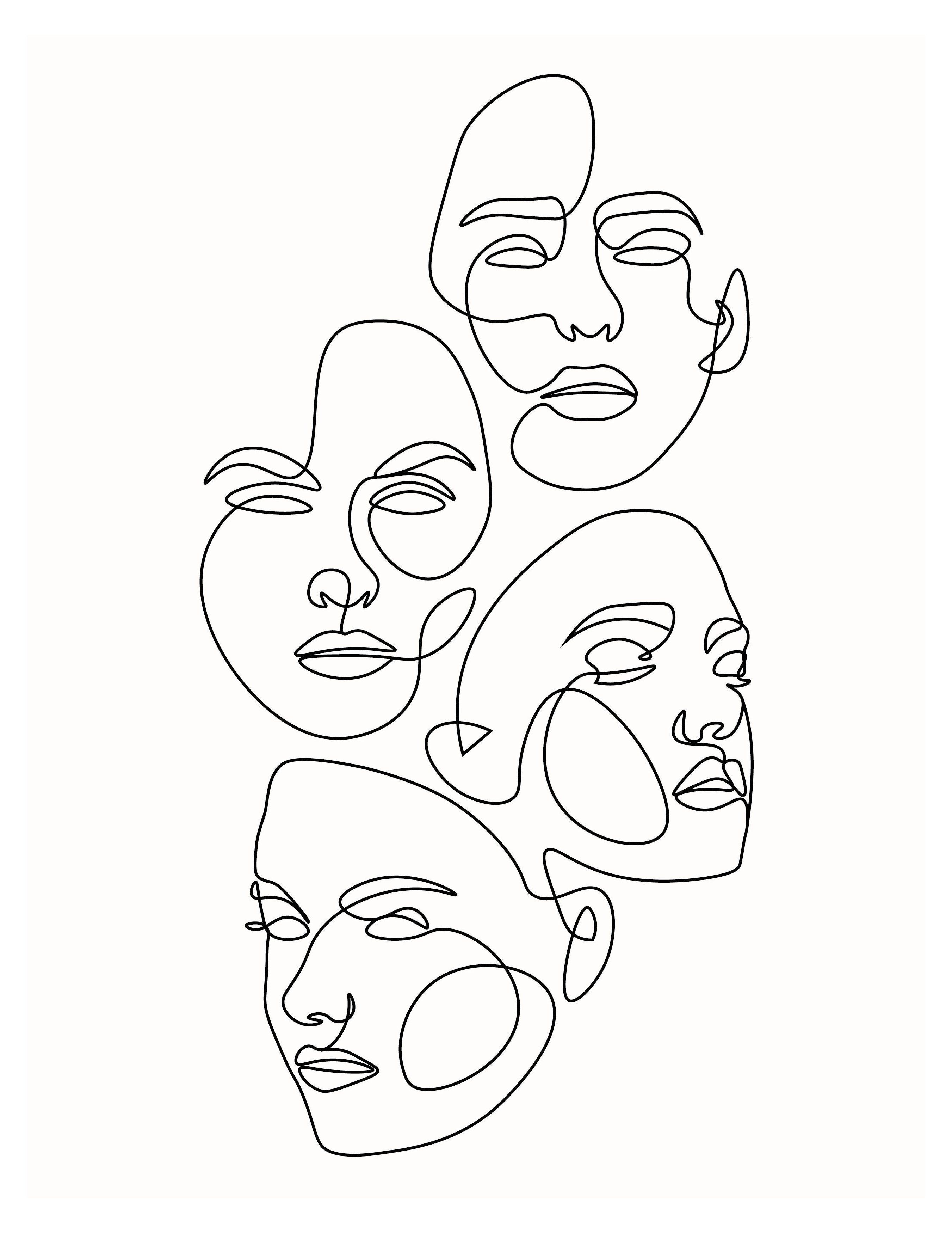 Pin By Gwendoline Bonthuys On Paintings In 2020 Abstract Face Art Outline Art Art Drawings