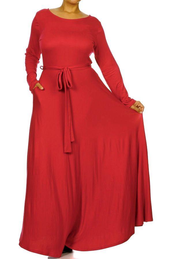 Red long sleeve dress maxi plus