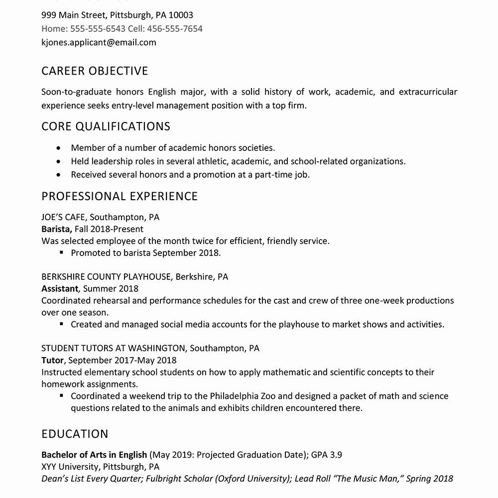Resume Template College Graduate Lovely High School