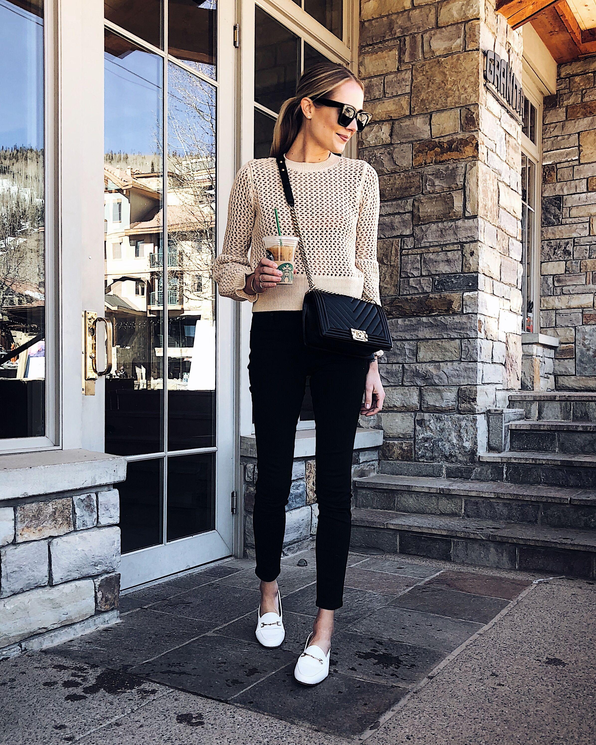 791f03ba333 Blonde Woman Wearing Tan Sweater Black Skinny Jeans White Loafers Fashion  Jackson Dallas Blogger Fashion Blogger Street Style