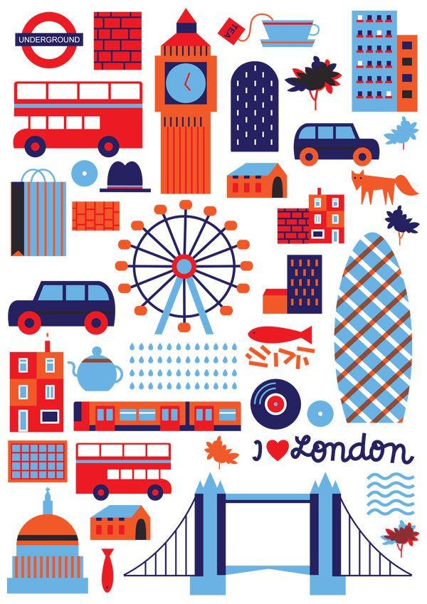 London Travel Poster ポストカード デザイン イラストマップ かわいい イラスト 手書き