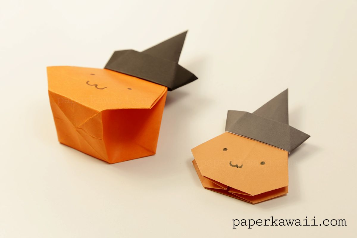 Origami pumpkin bag halloween video tutorial halloween sweets learn how to make a cool origami pumpkin bag candy box with a witch hat jeuxipadfo Image collections