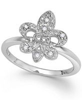 Diamond Fleur De Lis Ring in Sterling Silver (1/10 ct. t.w.)
