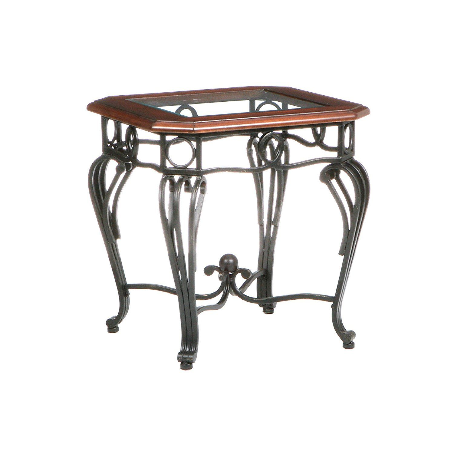 Wrought Iron End Tables With Glass Tops LIH End Table Under - Glass tops for bedroom furniture