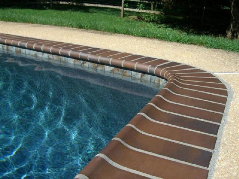 Pool Tile And Coping Ideas pool tile waterfall Pool Tile With Brick Coping Google Search