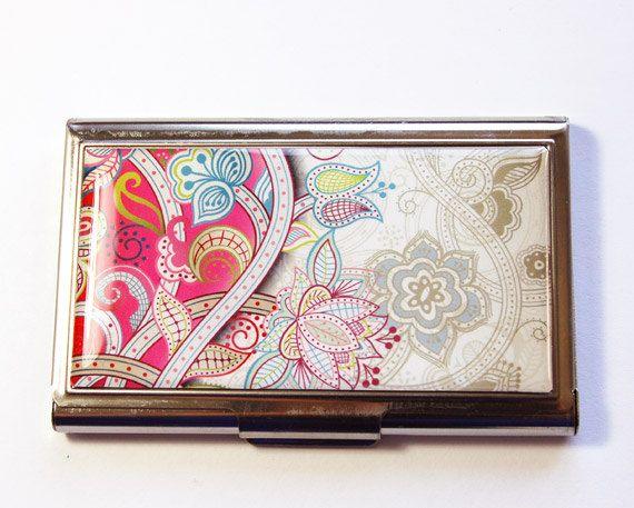 Business card case card case business card holder card case for business card case card case business card holder card case for her pink case paisley case pink paisley 2916 colourmoves