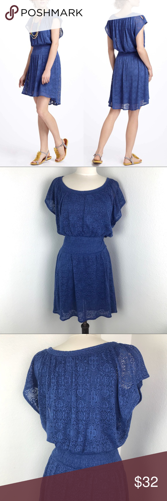 "178595017e546 Anthropologie Leifnotes Blue Lace Dress Size Small Bust: 18"" Length: 36""  Great pre-owned condition! Anthropologie Dresses High Low"