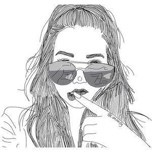 Tumblr Outlines Polyvore Dibujos Tumblr Chica En Blanco Y