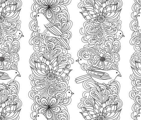 Colorful fabrics digitally printed by Spoonflower - Floral stripes