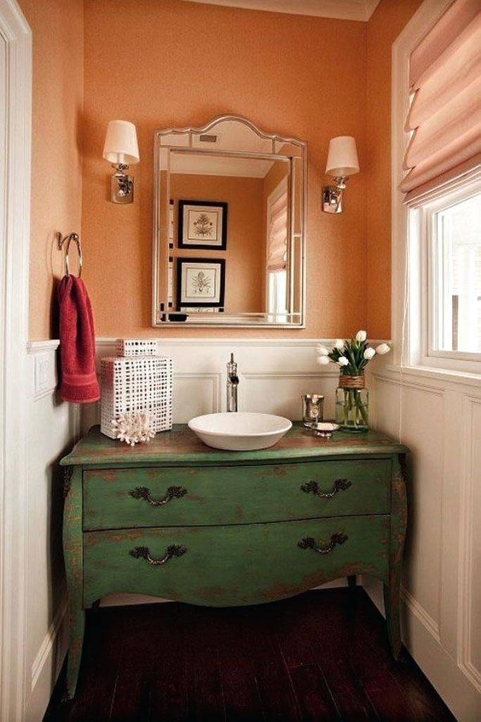 Green And Coral Bathroom Ideas Google Search With Images Diy Vintage Decor Powder Room Design Chic Bathrooms