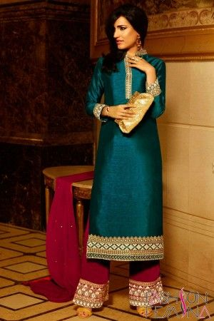 Dark Cyan Art Silk Party Wear Plazo Salwar Suit  http://www.fashionfemina.com/catalogs/exclusive-party-wear-salwar-kameez-online-shopping/ #partywearsalwarsuit #designersuit, #salwarsuit #onlineshoppingsuit,#latestcollection, #latestinmarket #diwalilatestcollection