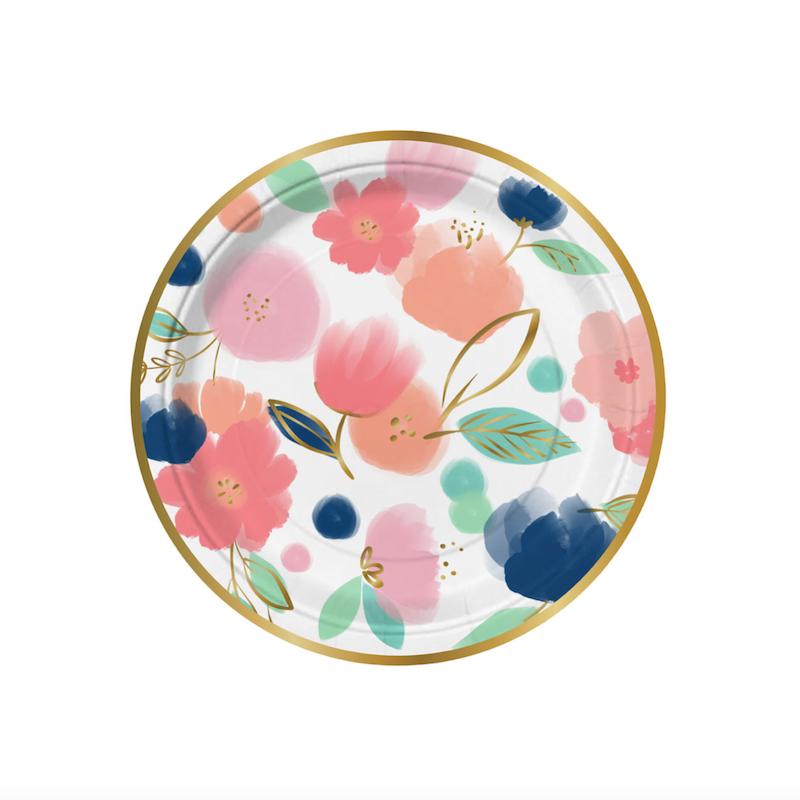 Colorful Floral Party Plates Floral Paper Plates Flower Plates Floral Plates