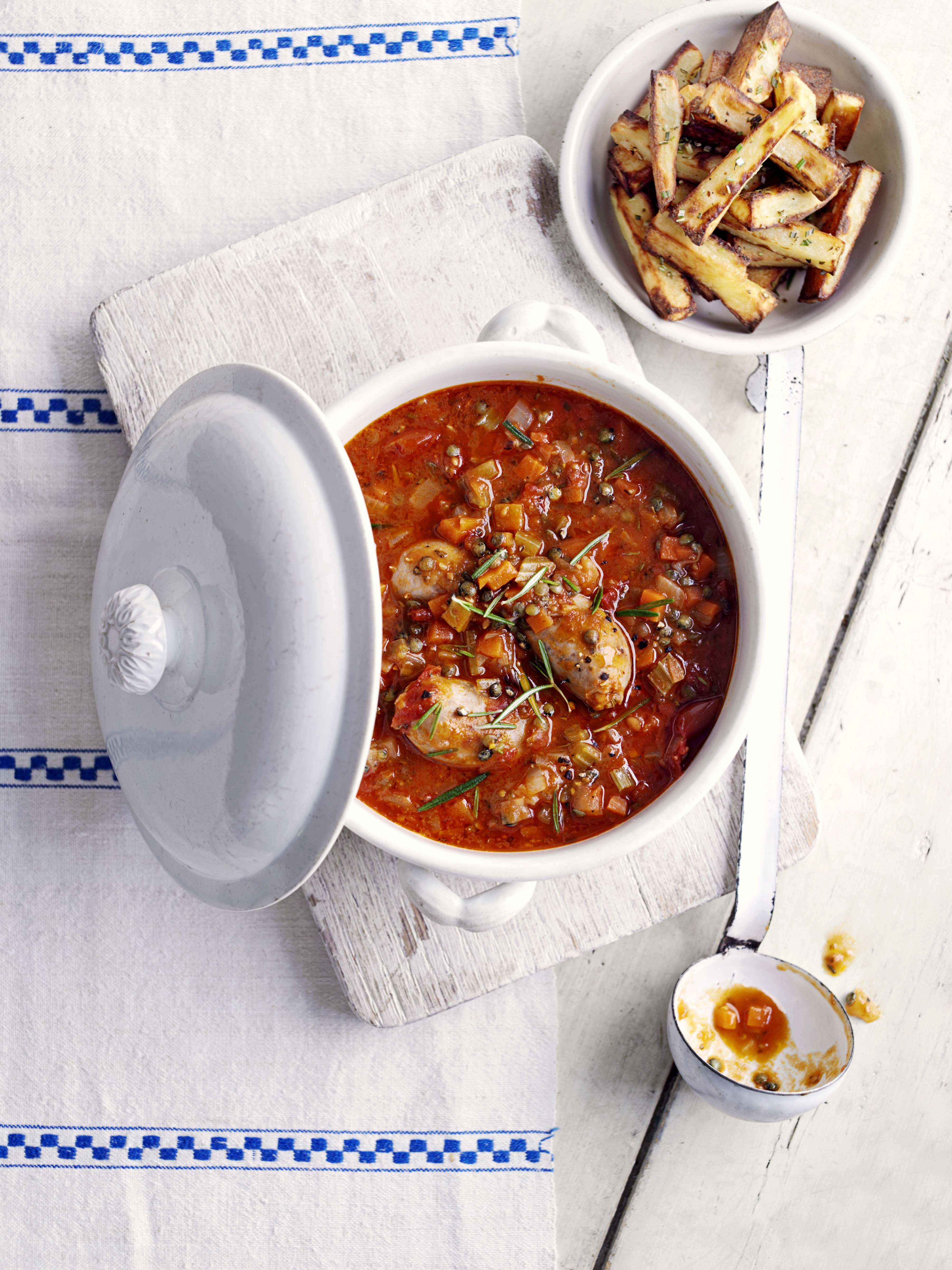 Italian sausage, Puy lentil and rosemary stew