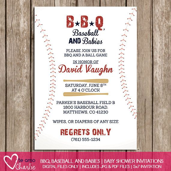 bbq baseball and babies baby shower invitations by 600