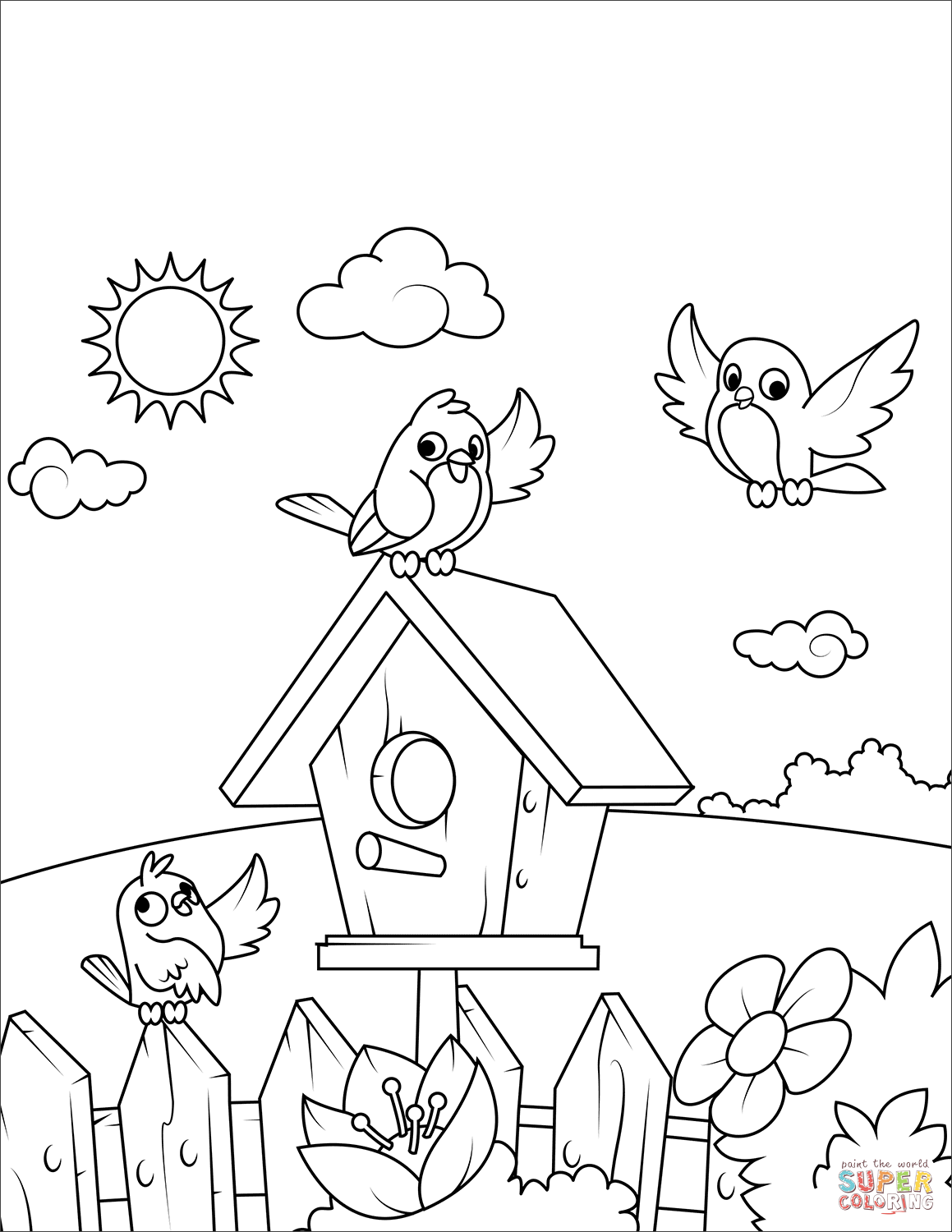 Birds Near A Birdhouse Super Coloring Bird Coloring Pages Spring Coloring Pages Cute Coloring Pages